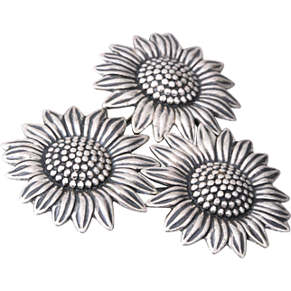 Sunflowers STERLING Silver Pin By Beau (Beaucraft)