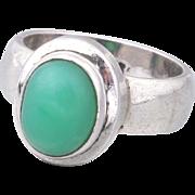 Modernist STERLING Silver Green Chrysoprase Ring Size 6.5
