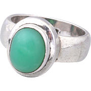 Modernist STERLING Silver Green Chrysoprase Ring Size 6.5