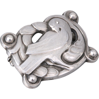Georg Jensen and Wendel Sterling Silver Dove Pin No. 111 by Kristian Mohl-Hansen (1945-1951)