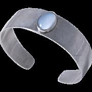 50% Off -DANECRAFT Sterling Silver Modernist Moonstone Cabochon Cuff Bracelet
