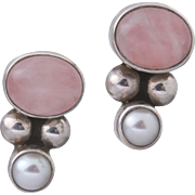 Sterling Silver Rose Quartz Pearl Stud Earrings