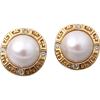 GIVENCHY Signed Vintage Pierced Faux Pearl Logo Earrings