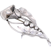 Georg Jensen Inc. USA Sterling Silver Calla Lilly Brooch/Pin Design # 134 by Alphonse LaPaglia