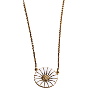 Vintage Georg Jensen Enamel Daisy Gold-Plated Sterling Silver Necklace