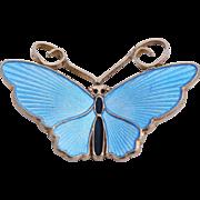 Vintage David Andersen Sterling Baby Blue Enamel Butterfly Pin