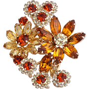 Extraordinary Weiss Rhinestone Floral Corsage Pin/Brooch