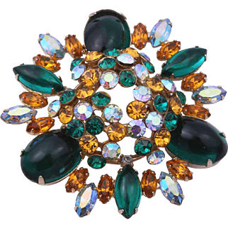 Weiss Signed Emerald Green Glass Cabochon Exquisite Dome Pin/Brooch