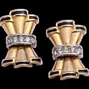 Crystal Diamante Art Deco Styled  Bow Clip-On Earrings