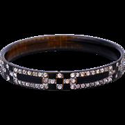 Art Deco Celluloid Bangle/Bracelet with Sparkling Geometric Styled Rhinestones