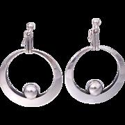 Vintage Niels Erik From Polished Sterling Silver Modernist Front Hoop Earrings