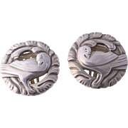 Georg Jensen Iconic Sterling Silver Dove Bird Wreath Earrings 66