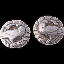 Georg Jensen Iconic Sterling Silver Dove Bird Wreath Earrings 66