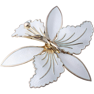 Large Aksel Holmsen Norway White Sterling Silver Enamel Orchid Pin/Brooch
