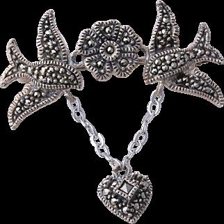 Judith Jack Sterling Silver Marcasite Love Birds Dangling Heart Pin/Brooch