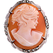 Hand-Carved Shell Cameo 800 Silver Marcasite Brooch or Pendant