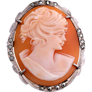 Hand-Carved Shell Cameo Silver Marcasite Brooch or Pendant