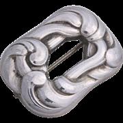 Georg Jensen Sterling Silver Scroll Decorated Openwork Pin Design No. 31B Made In Denmark