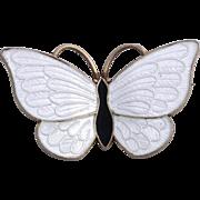 Sterling Silver Volmer Bahner White Enamel Butterfly Pin from Denmark