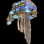 Unique Juliana (D&E) Shades of Blue and Olivine Rhinestone Dangle Brooch