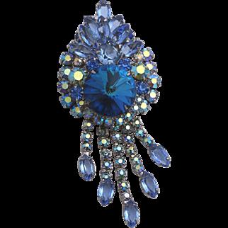 1966 D&E Juliana Book Piece Blue Rivoli Rhinestone Dangling Brooch or Pendant