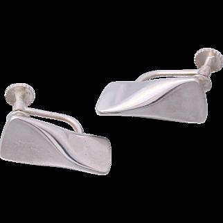 1953 Georg Jensen Book Piece Sterling Silver Modernist Earrings 116B