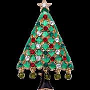 Eisenberg Ice Christmas Tree Pin with Enamel, Rhinestones & Dangling Beads