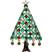 Eisenberg Ice Christmas Tree Pin with Enamel, Rhinestones & Dangling Beads