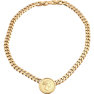 MONET Faux Roman/Greek Coin Gold-Plated Chain Statement Necklace