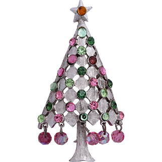Rare MYLU Book Piece Pink, Green and Silver-Tone Christmas Tree Pin