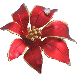 Rare Cerrito Red Poinsettia with Sparkling Rhinestone Christmas/Holiday Pin