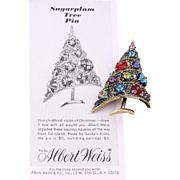 """Weiss' """"Sugarplum"""" Christmas Tree Pin and Vintage Ad from 1964"""