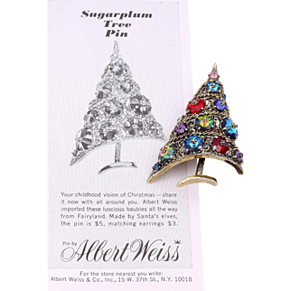 "Weiss' ""Sugarplum"" Christmas Tree Pin and Vintage Ad from 1964"