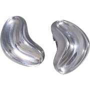 Anton Michelsen Sterling Silver Modernist Boomerang Clip-Style  Earrings Made in Denmark