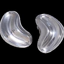 Anton Michelsen Sterling Silver Modernist Boomerang Clip-Style  Earrings Made in Denmark