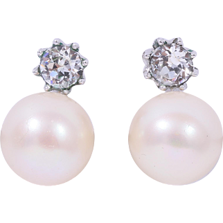 CINER Queen Mary Inspired Simulated Pearl and Diamond Earrings