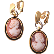 1978 GIVENCHY Romantic Faux Cameo Dangle Earrings