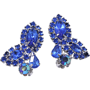 Mint Condition Weiss Sapphire Blue Rhinestone Clip-On Earrings