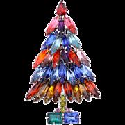 RARE Vintage Kenneth J. Lane Book Piece Christmas Tree Pin