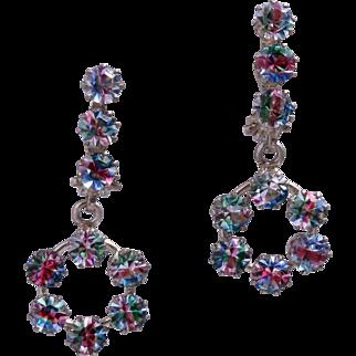 """German Art Deco """"Rainbow"""" Crystal 800 Silver Dangling Hoop Earrings"""