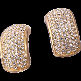 1980s Pierced CHRISTIAN DIOR Sparkling Rhinestone Earrings