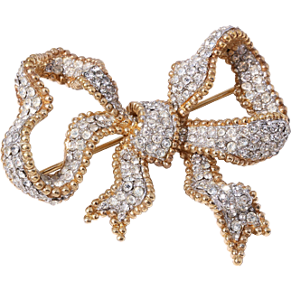 Vintage CINER Ornate Clear Crystal Gold-Plated Bow Brooch