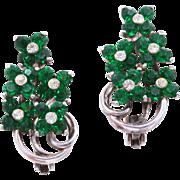 1940s Pennino Sterling Silver Emerald Green Rhinestone Floral Clip-On Earrings