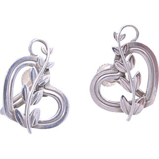 1960s Georg Jensen Sterling Silver Heart Vine Earrings Design Design No. 115