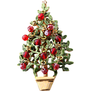 Original by Robert Topiary Christmas Tree Pin with Red Dangling Balls