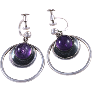 Neils Erik From Sterling Silver Amethyst Dangling Hoop Earrings Made in Denmark