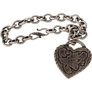 Sterling Silver Chunky Chain with Large Nouveau Heart 35.2 Grams