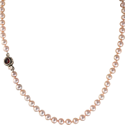 "Pink Fresh Water Pearl 18"" Necklace with Sterling Silver & Garnet Clasp"