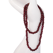 14K Gold Garnet Bead Necklace with 14K Gold Clasp 17.5""
