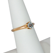 14K Rose Gold Blue Topaz Solitaire Ring Size 6-3/4